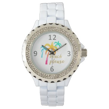 "Beach Themed gold glitter ""beach please"" with colorful palms watch"