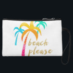 "gold glitter &quot;beach please&quot; with colorful palms wristlet<br><div class=""desc"">Colorful and summer design representing palms and trendy faux gold glitter text &quot;beach please&quot;. You may customize the product by choosing the background color.</div>"