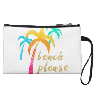 "gold glitter ""beach please"" with colorful palms wristlet"