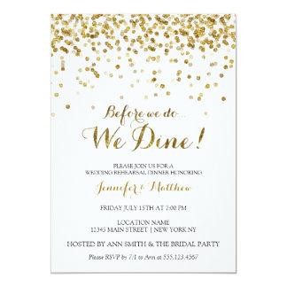 Gold Glitter Before We Do We Dine Rehearsal Dinner Card