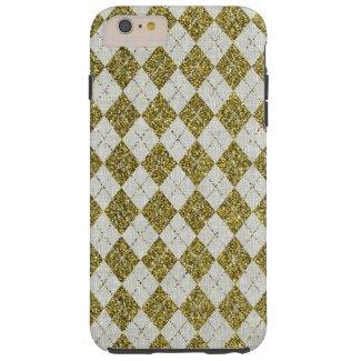 Gold Glitter Beige Linen Argyle Pattern Tough iPhone 6 Plus Case
