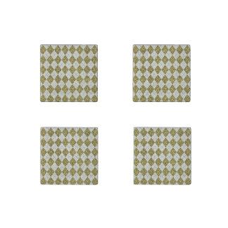 Gold Glitter Beige Linen Argyle Pattern Stone Magnet