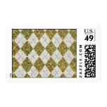 Gold Glitter Beige Linen Argyle Pattern Postage