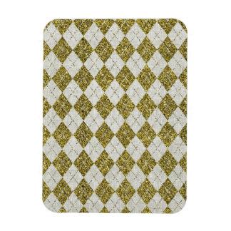 Gold Glitter Beige Linen Argyle Pattern Magnets