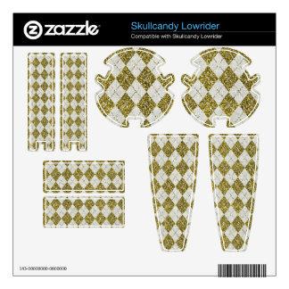 Gold Glitter Beige Linen Argyle Pattern Skullcandy Decals