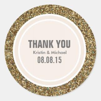 Gold Glitter & Beige Thank You Label Classic Round Sticker