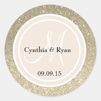 Gold Glitter & Beige Wedding Monogram Classic Round Sticker