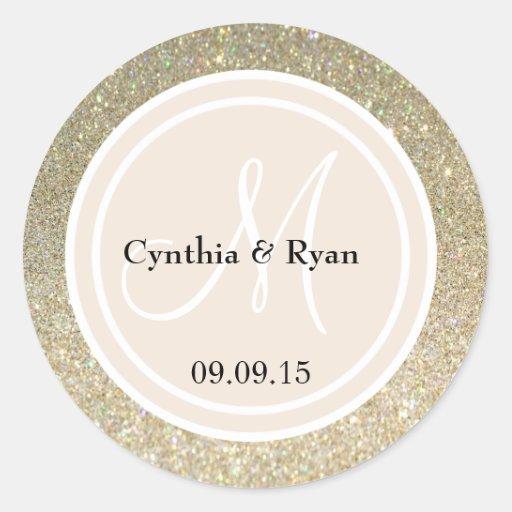 Gold Glitter & Beige Wedding Monogram Stickers