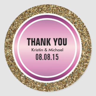 Gold Glitter & Berry Purple Thank You Label Classic Round Sticker