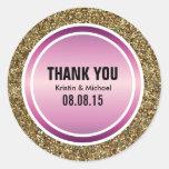 Gold Glitter & Berry Purple Thank You Label Classic Round Sticker