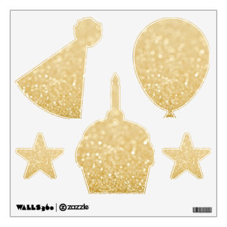 Gold Glitter Birthday Party Wall Decals