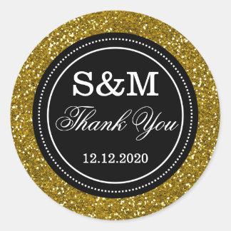 Gold Glitter Black And White Wedding Monogram Classic Round Sticker
