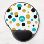 "Gold Glitter Black &amp; Blue Circles Modern Pattern Gel Mouse Pad<br><div class=""desc"">Elegant modern abstract random circles seamless pattern in gold glitter blue and black circles over white background.</div>"