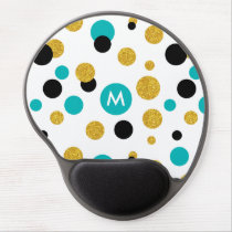 Gold Glitter Black & Blue Circles Modern Pattern Gel Mouse Pad