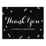 Gold Glitter Black | Bridesmaid Thank You Cards