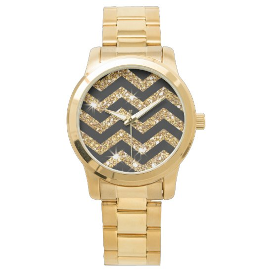 Gold Glitter & Black Chevron, Classic Look Design Wristwatches