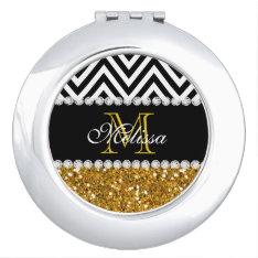 Gold Glitter Black Chevron Monogrammed Compact Mirror at Zazzle
