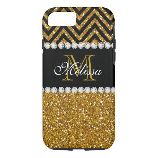 Gold Glitter Black Chevron Monogrammed iPhone 8/7 Case