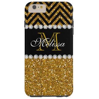 Gold Glitter Black Chevron Monogrammed Tough iPhone 6 Plus Case