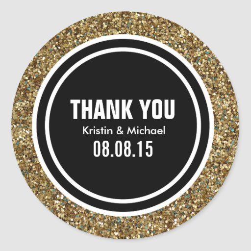 Gold Glitter & Black Custom Thank You Label Round Stickers