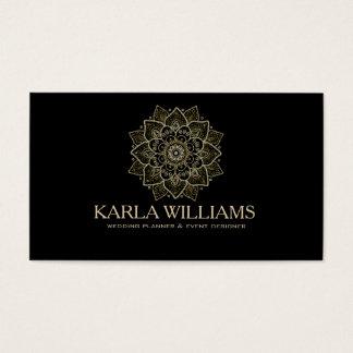 Gold Glitter & Black Floral Mandala Business Card