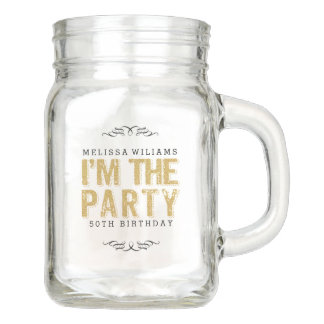 Gold Glitter & Black I'm The Party Tex Design Mason Jar