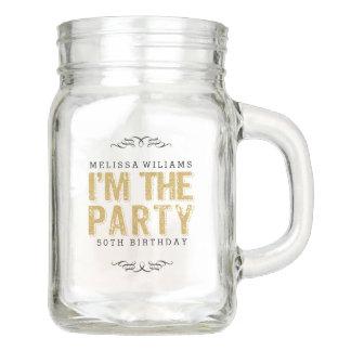 Mason Jars - Gold Glitter & Black I'm The Party Tex Design Mason Jar