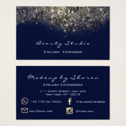 gold glitter black makeup lash blue navy spark business card - Spark Business Card