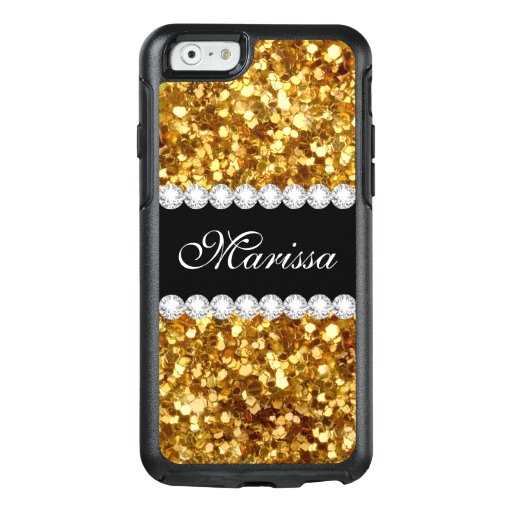 Gold Glitter Black Otterbox iPhone 6/6s Case