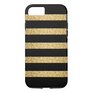 Gold Glitter Black Stripes Pattern Monogram