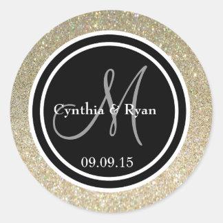 Gold Glitter & Black Wedding Monogram Seal