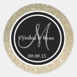 Gold Glitter & Black Wedding Monogram Seal Classic Round Sticker