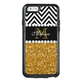 Gold Glitter Black White Chevron Monogrammed OtterBox iPhone 6/6s Case