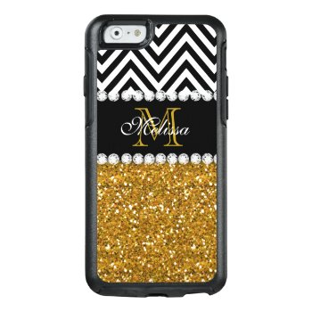 Gold Glitter Black White Chevron Monogrammed Otterbox Iphone 6/6s Case by monogramgallery at Zazzle