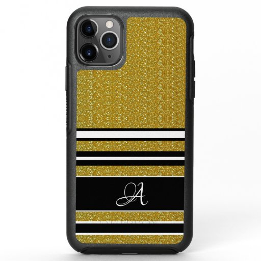 Gold Glitter Black/White Modern Stripes Pattern OtterBox Symmetry iPhone 11 Pro Max Case