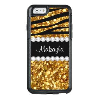 Gold Glitter Black Zebra Otterbox iPhone 6 Case