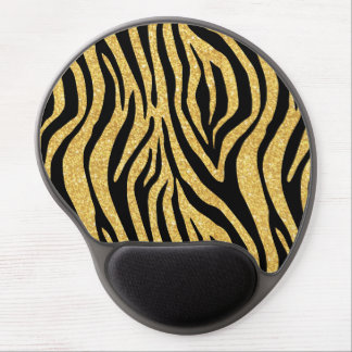 Gold Glitter Black Zebra Stripes Animal Print Gel Mouse Pad