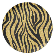 Gold Glitter Black Zebra Stripes Animal Print Melamine Plate