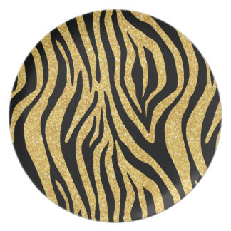 Gold Glitter Black Zebra Stripes Animal Print Melamine Plate