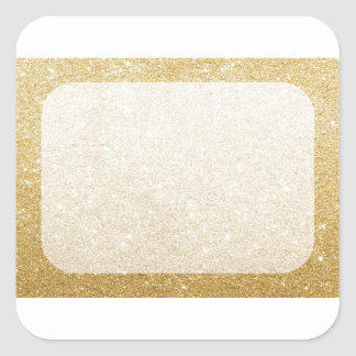 gold glitter blank template for customization square sticker