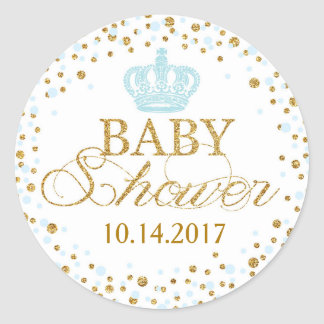Gold Glitter Blue Crown Royal Prince Baby Shower Classic Round Sticker