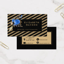 gold glitter blue Floral business card