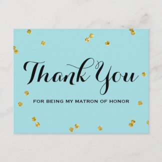 Gold Glitter Blue | Matron Honor Thank You Cards