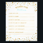 """Gold Glitter Blue Sprinkle Confetti Baby Wish Card<br><div class=""""desc"""">Gold glitter-effect and baby blue sprinkles baby wishes card.</div>"""