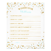 Gold Glitter Blue Sprinkle Confetti Baby Wish Card