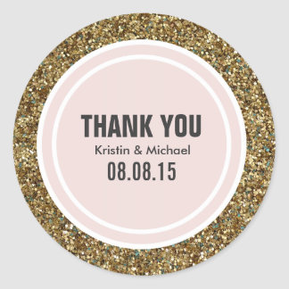 Gold Glitter & Blush Pink Custom Thank You Label
