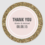 Gold Glitter & Blush Pink Custom Thank You Label Classic Round Sticker