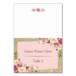 Gold Glitter Blush Pink Floral Wedding Place Table Number
