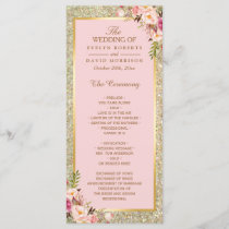 Gold Glitter Blush Pink Floral Wedding Program