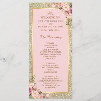 Gold Glitter Blush Pink Floral Wedding Program